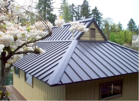brown metal roof close up