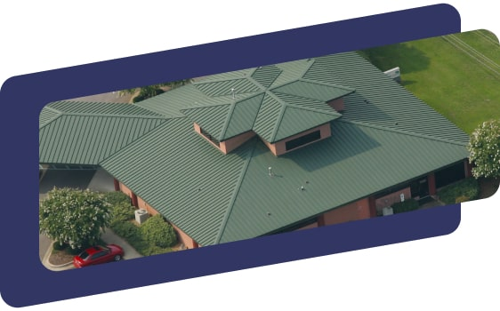 overhead of large green metal roof